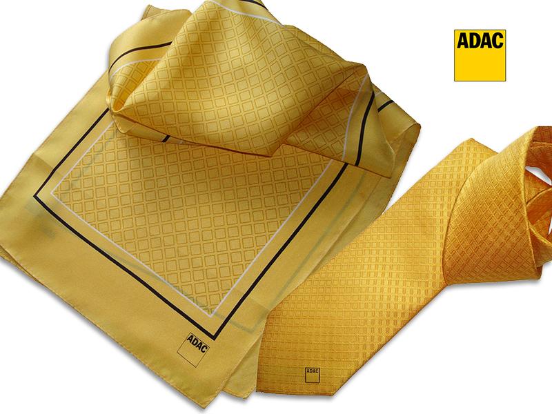 Referenzen individuell gestalteter Krawatten Schals und Krawatten mit Logo ADAC