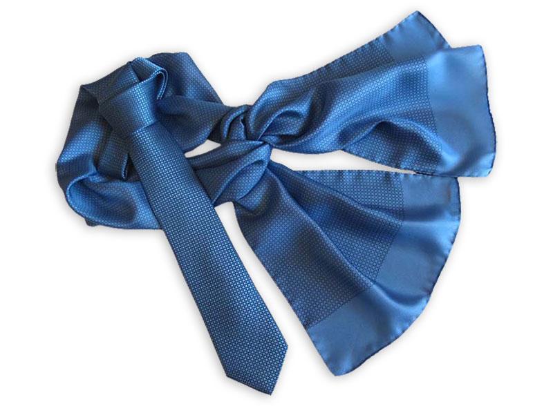 Seidenkrawatte mit passendem Tuch, Schal oder Loop