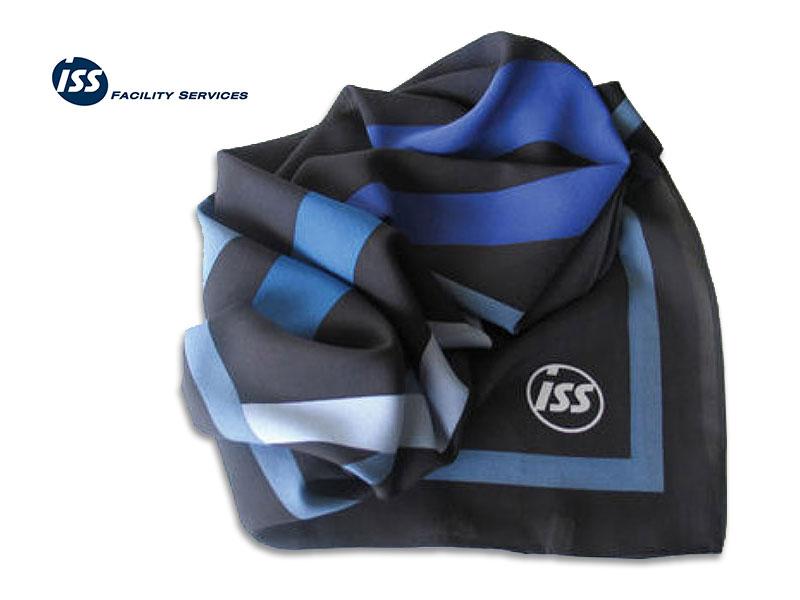 Referenzen individuell gestalteter Krawatten Seidentuch Firmenlogo ISS