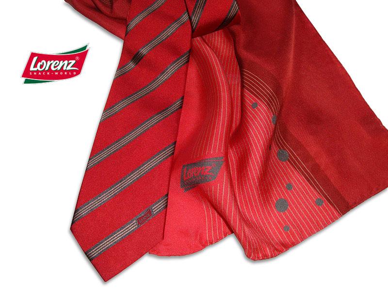 Firmenkrawatten und individuelle Schals für Messe Lorenz-Snack-World