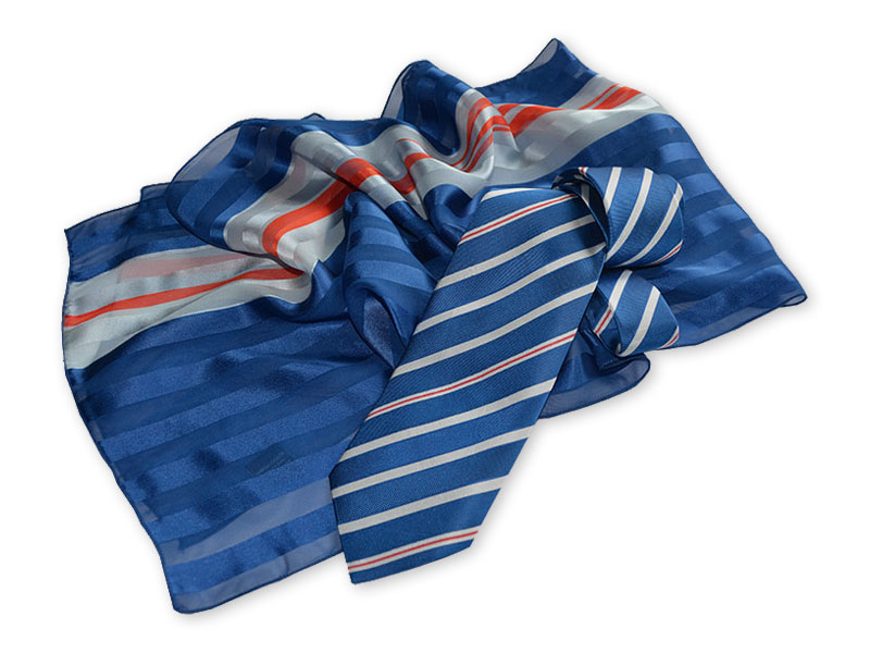 Gewobene Krawatte OSLO aus Seide mit bedrucktem Schal WELLINGTON