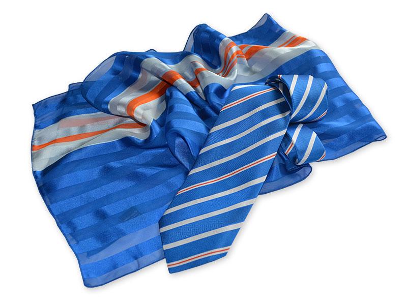 Gewobene Krawatte OSLO aus Seide mit bedrucktem Schal