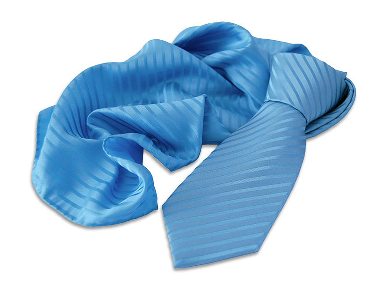 Webgemusterte Krawatte aus Seide mit Tuch/Schal aus gleichem Stoff