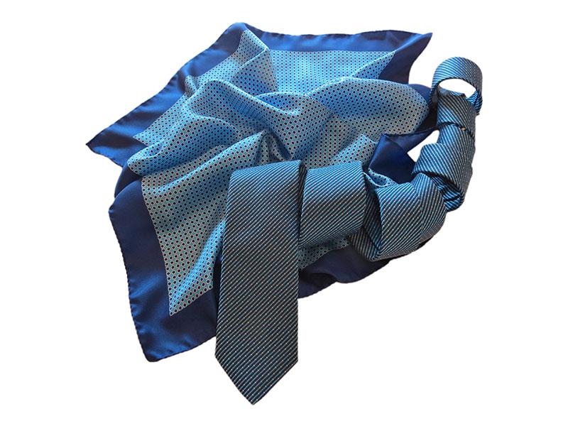 Seidenkrawatte mit passendem Tuch für Firmen und Vereine Kollektion italienische Seide