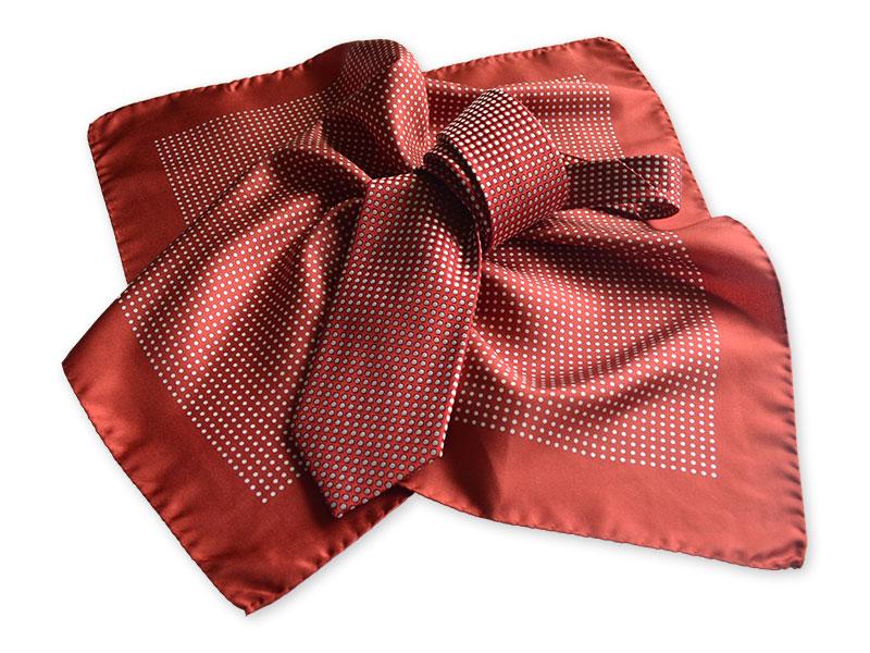 Gewobene Krawatte aus Seide mit passend bedrucktem Tuch 50×50cm