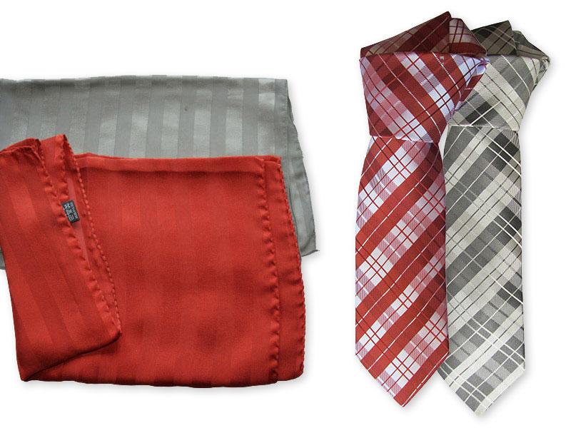 Gewobene Seidenkrawatte mit einfarbigem Schal