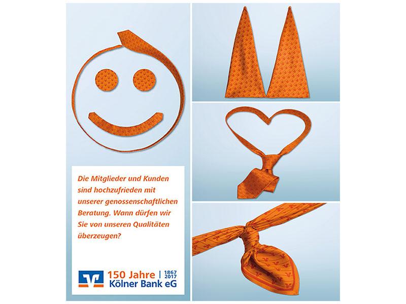 Krawatten Werbung Koelner VR-Bank